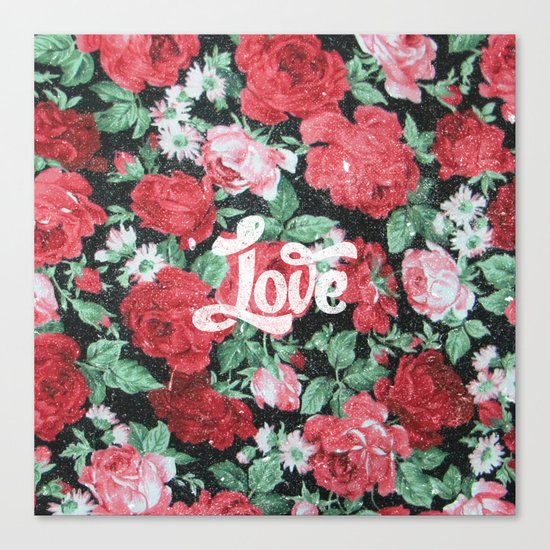 Red Pink Roses Chic Love Vintage Floral Pattern Canvas Print