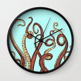 Squid Orange & Aqua Wall Clock
