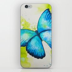 Blue Butterfly Watercolor Painting iPhone & iPod Skin