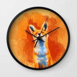 Happy Fox on an orange background Wall Clock