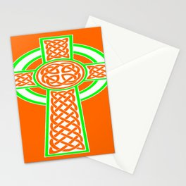 St Patrick's Day Celtic Cross White and Green Stationery Cards