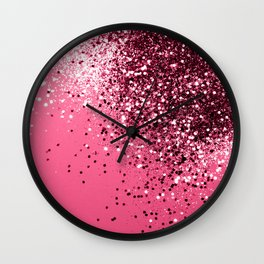 Light Red Sparkling Glitter Dream #1 #shiny #decor #art #society6 Wall Clock