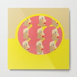 Pink ladies pop art print Metal Print