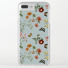 BOTANICAL FLOWERS TURQUESA Clear iPhone Case