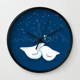 Lovey Doves - Paris pair at night Wall Clock