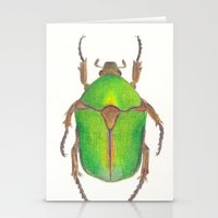 beetle Stationery Cards featuring Beetle by Jen Eva