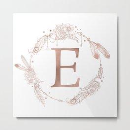 Letter E Rose Gold Pink Initial Monogram Metal Print