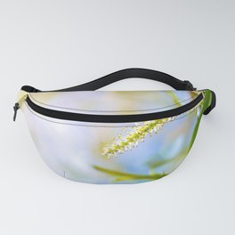 Weeping willow spring branch with new leaves and pollen Fanny Pack