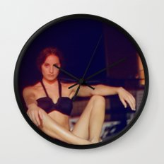 Night at the pool Wall Clock