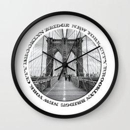 Brooklyn Bridge New York City (black & white badge emblem) Wall Clock