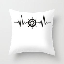 Sailing Heartbeat Throw Pillow