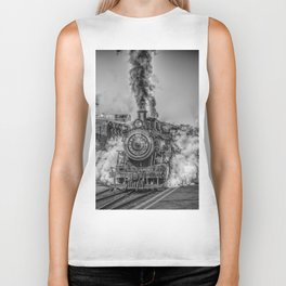 Vintage Steam Train Photo Biker Tank
