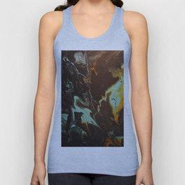Fluid Art Acrylic Painting, Pour 3 - Black, Orange & Turquoise Blended Color Unisex Tank Top