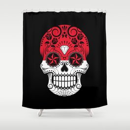 Sugar Skull with Roses and Flag of Indonesia Shower Curtain