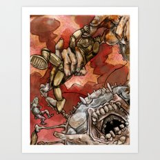 Wrestling the Clawless Crabboth for Kingship of the Seas Art Print