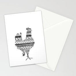 Chicken in Patterned Silhouette Stationery Cards