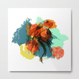 Splatter koi fish Metal Print