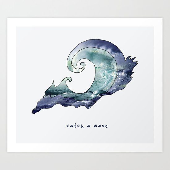 catch a wave Art Print