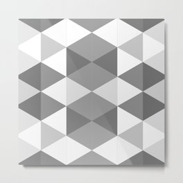 Grey Triangles Metal Print