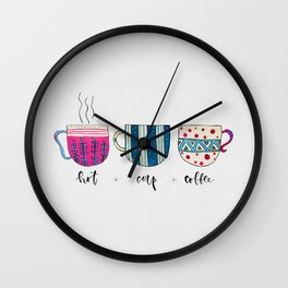 Hot Cup Coffee Gouache Painting Wall Clock