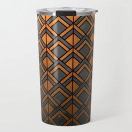 Cascading Squares Copper and Black - Art Deco Pattern Travel Mug