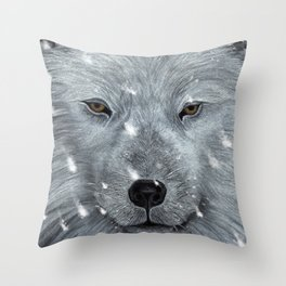 The Amber Eyed Wolf Throw Pillow