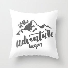 Let the Adventure Begin WHITE Throw Pillow