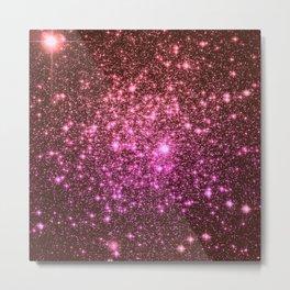 Galaxy Sparkle Stars : Coral Burgundy Pink Metal Print