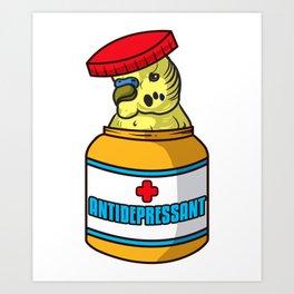 Adorable Bird Antidepressant Pets Fix Depression Art Print