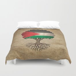 Vintage Tree of Life with Flag of Palestine Duvet Cover