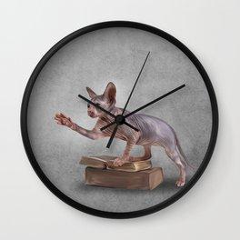 Drawing Sphynx kitten, hairless Wall Clock