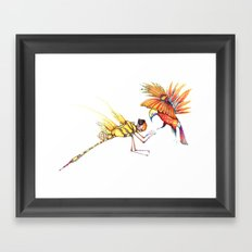 Holiday drawings:  Dragonfly & Bird of paradise Framed Art Print