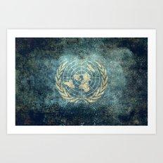 The United Nations Flag - Vintage version Art Print