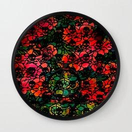 Skull and Crossbones:  Flower Wheel Wall Clock