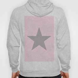 Grey star on pink background Hoody