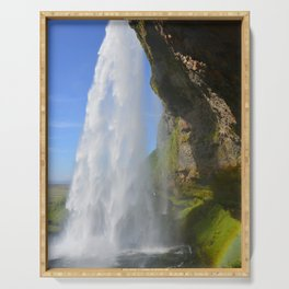 Iceland Waterfall Cascade Landscape Serving Tray