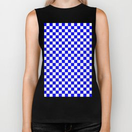 Small Checkered - White and Blue Biker Tank