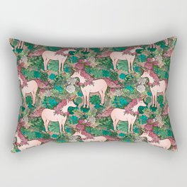 Rose Gold Unicorns in a Garden Rectangular Pillow