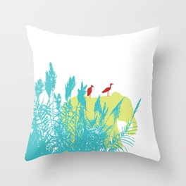 Pastel Symbiosis between Elephant and Bird Throw Pillow