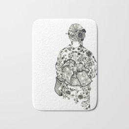 Geometric Black and White Drawing Japanese Yukata Kimono Bath Mat