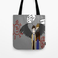 supernatural Tote Bags featuring Supernatural  by Research&Development
