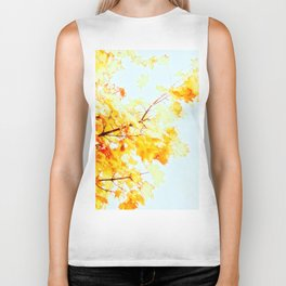 Yellow Maple leaves, Autumn Unfolds Biker Tank