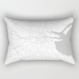 White on Light Grey Dublin Street Map Rectangular Pillow