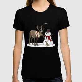 Santa's Reindeer Giving Snowman's Carrot Nose To Bunny T-shirt