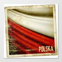poland Canvas Prints featuring STICKER OF POLAND flag by Lulla