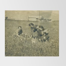 Picking flowers long ago Throw Blanket