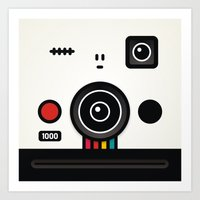 polaroid Art Prints featuring polaroid by The Geek Store