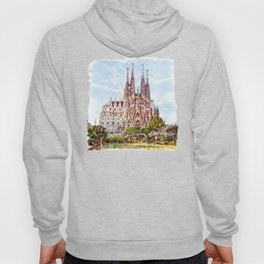 La Sagrada Familia watercolor Hoody
