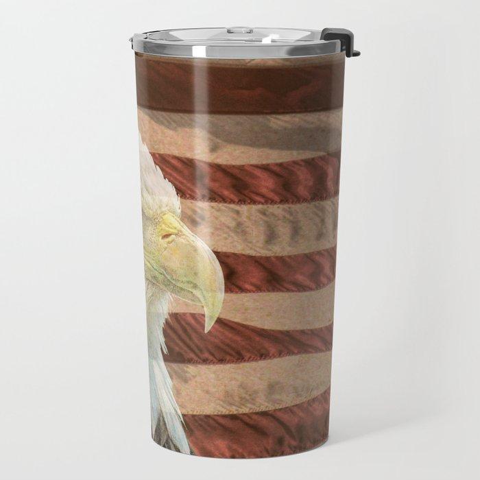 Rustic Bald Eagle on American Flag A213 Travel Mug