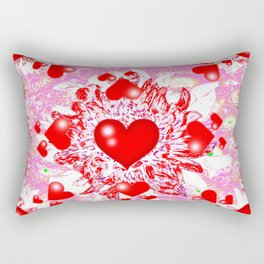 Red Hearts Valentines & Pink Art Patterns Rectangular Pillow